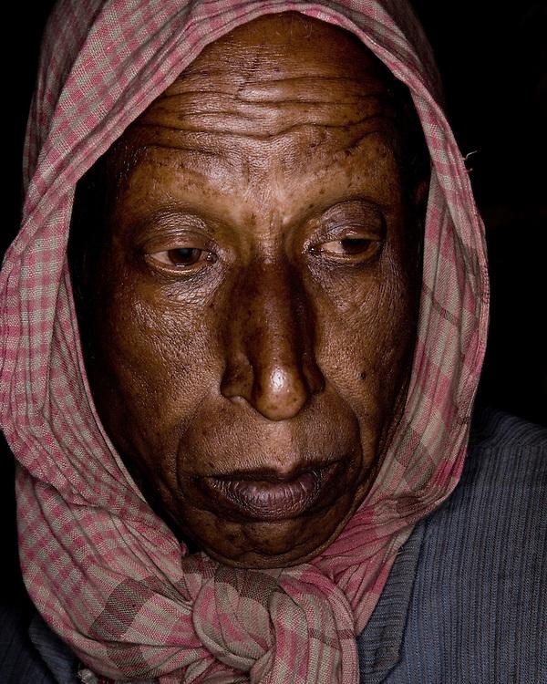 Emotional Portrait of an Indian Farmer in Headscarf