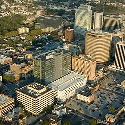 Aerial view of Downtown Wilmington, Delaware, Bank of America, Wilmington Hospital, Rodney Square, Hotel Dupont, Market Street, King Street, Brandywine River, View West towards Trolley Square