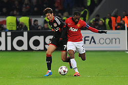 27.11.2013, BayArena, Leverkusen, GER, UEFA CL, Bayer Leverkusen vs Manchester United, Gruppe A, im Bild Heung Min Son ( links Bayer 04 Leverkusen ) im Zweikampf mit Patrice Evra ( rechts Manchester United / Action / Aktion ) // during UEFA Champions League group A match between Bayer Leverkusen vs Manchester United at the BayArena in Leverkusen, Germany on 2013/11/28. EXPA Pictures © 2013, PhotoCredit: EXPA/ Eibner-Pressefoto/ Thienel<br /> <br /> *****ATTENTION - OUT of GER*****