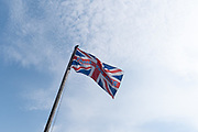 A 'Thank You NHS' flag flies in blue skies at Hickling Broad during the Coronavirus pandemic, on 11th August 2020, in Hickling, Norfolk, England.