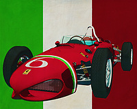 """With the Ferrari 156 Shark Nose 1961 Enzo Ferrari made his Italian car brand world famous. With its design, the Ferrari 156 was so progressive that it won many victories on the race track. The Ferrari 156 was also so recognizable with its shark nose that it almost immediately got its nickname """"Shark Nose"""". Enzo Ferrari later built many more racing cars but this one is his most remarkable. -<br /> <br /> BUY THIS PRINT AT<br /> <br /> FINE ART AMERICA<br /> ENGLISH<br /> https://janke.pixels.com/featured/ferrari-156-shark-nose-1961-the-racing-car-that-put-italy-on-the-map-jan-keteleer.html<br /> <br /> <br /> WADM / OH MY PRINTS<br /> DUTCH / FRENCH / GERMAN<br /> https://www.werkaandemuur.nl/nl/werk/Ferrari-156-Shark-Nose-1961-de-racewagen-die-Italie-op-de-kaart-zette/637085/134?mediumId=1&size=70x55"""