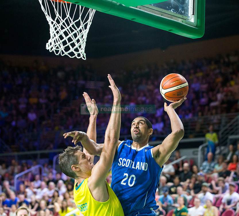 Handout photo dated 14/04/2018 provided by Jeff Holmes of Scotland's Kieron Achara in the Men's Semifinal Basketball at the Gold Coast Convention and Exhibition Centre during day ten of the 2018 Commonwealth Games in the Gold Coast, Australia. Issue date: Saturday April 14, 2018. See PA story COMMONWEALTH Basketball. Photo credit should read Jeff Holmes/PA Wire. NOTE TO EDITORS: This handout photo may only be used in for editorial reporting purposes for the contemporaneous illustration of events, things or the people in the image or facts mentioned in the caption. Reuse of the picture may require further permission from the copyright holder.