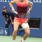 Simona Halep, Romania, celebrates victory against Victoria Azarenka, Belarus, in the Women's Singles Quarterfinals match during the US Open Tennis Tournament, Flushing, New York, USA. 9th September 2015. Photo Tim Clayton