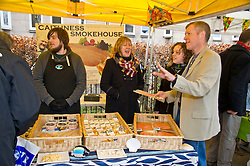 Pictured: Matt Doverty, Beth Berry, organiser of the Three Edinburgh Farmers markets, Willie Rennie and Hannah Bettsworth, Liberal Democrat candidate for Edinburgh Central and the Lothian regional list<br /> <br /> Liberal Democrat leader Willie Rennie and  Hannah Bettsworth, Liberal Democrat candidate for Edinburgh Central and the Lothian regional list, headed to Stockbridge today to meet Easter shoppers and stallholders at the Sunday farmers market. <br /> <br /> Ger Harley | EEm 27 March 2016