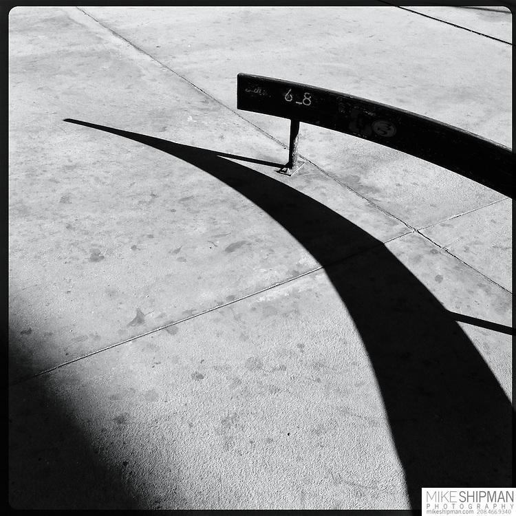 Skate park rails and shadows