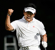 Y. E. Yang reacts after chipping in for eagle on the 14th hole during the final round of the 91st PGA Championship at Hazeltine National Golf Club in Chaska, Minnesota on August 16, 2009. (UPI)