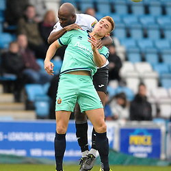 TELFORD COPYRIGHT MIKE SHERIDAN Theo Streete of Telford battles for a header during the Vanarama National League Conference North fixture between AFC Telford United and Spennymoor Town on Saturday, November 16, 2019.<br /> <br /> Picture credit: Mike Sheridan/Ultrapress<br /> <br /> MS201920-030