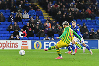 Football - 2019 / 2020 Sky Bet (EFL) Championship - Cardiff City vs. West Bromwich Albion<br /> <br /> Charlie Austin of WBA scores his team's first goal, at Cardiff City Stadium.<br /> <br /> COLORSPORT/WINSTON BYNORTH