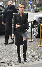 PFW Hailey Baldwin in leather at Paris fittings - 5 March 2019