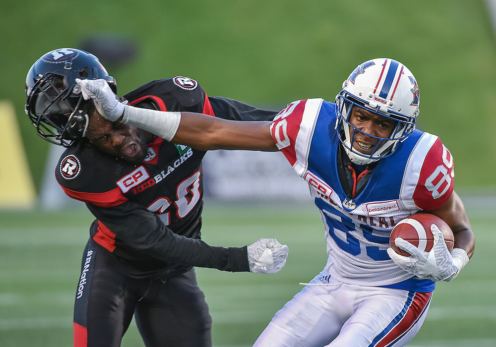 August 19, 2016: The CFL match between the Ottawa RedBlacks and the Montreal Alouettes at TD Place Stadium in Ottawa, ON. Canada on Aug. 19, 2016.<br /> <br /> PHOTO: Steve Kingsman/Freestyle Photography