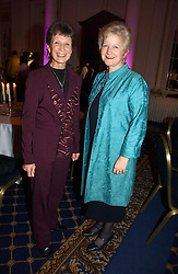 Left to right, FIONA CASTLE widow of Roy Castle and JULIET SMITH at a reception to launch Angel themed Christmas Cards and view an exhibition of the original art work by Gordon King with proceeds going to the Caron Keating Foundation  held at the Langham Hotel, Portland Place, London on 20th November 2006.<br /><br />NON EXCLUSIVE - WORLD RIGHTS