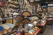 Japanese rice paper Fans on display in a Fan Shop. Photographed in Japan, Kyoto,