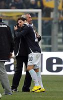 """Esultanza di Edy Reja a fine partita.<br /> Parma, 14/02/2010 Stadio """"Tardini""""<br /> Parma-Lazio.<br /> Campionato Italiano Serie A 2009/2010<br /> Foto Nicolò Zangirolami Insidefoto"""