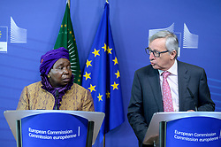 April 22, 2015 - Brussels, Bxl, Belgium - President of the African Union Commission Nkosazana Dlamini-Zuma (L) and Jean-Claude Juncker , the president of the European Commission hold a press conference after bilateral meeting at European Commission headquarters in Brussels, Belgium on 22.04.2015 by Wiktor Dabkowski (Credit Image: © Wiktor Dabkowski/ZUMA Wire)