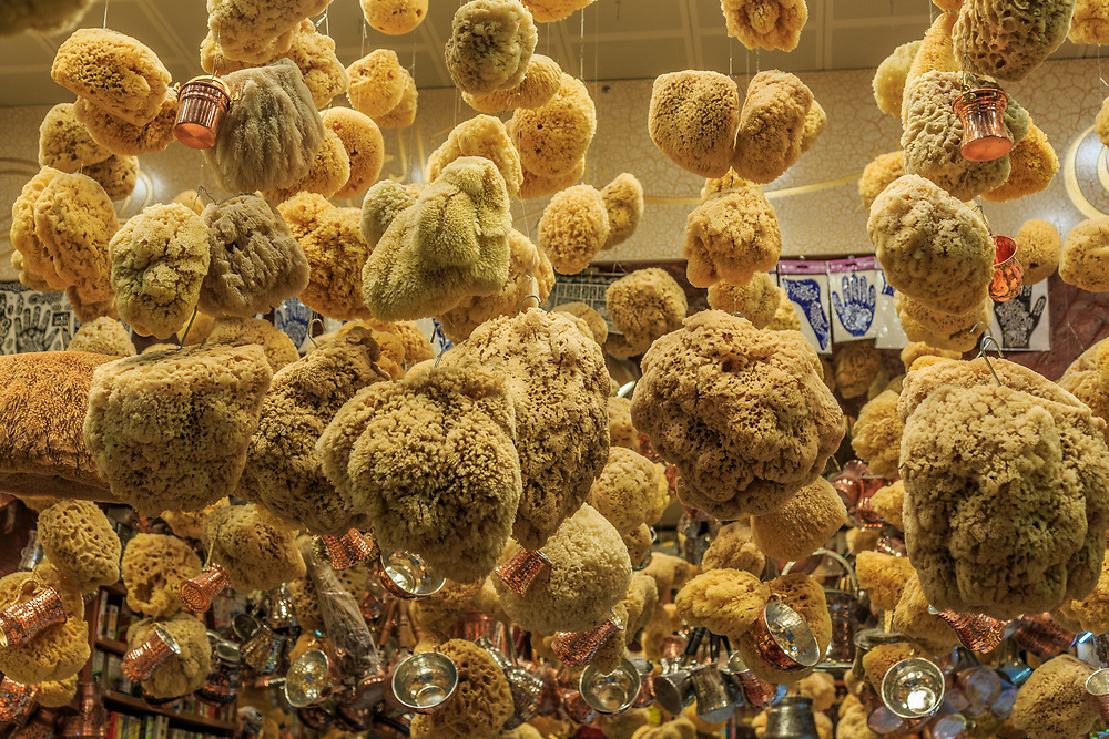 Sea sponges in the Egyptian Spice Bazaar in Istanbul, Turkey.  This bazaar has been selling nuts, oils, fruits, freshly ground Mehmet Efendi coffee and spices since 1664.