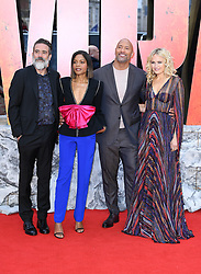 Jefrey Dean Morgan (left), Naomie Harris (second let), Dwayne Johnson, and Malin Akerman (right) attending the European premiere of Rampage, held at the Cineworld in Leicester Square, London. Photo credit should read: Doug Peters/EMPICS Entertainment