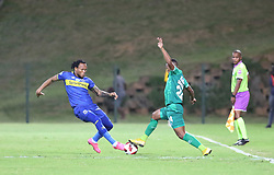 23102018 (Durban) Cape Town City player Dove Edmilson tackling for a ball with Amazulu Player Thembela Sikhakhane during the first round of the Telkom Knockout concludes on Tuesday night when Amazulu host MTN8 Cup winners Cape Town City at the King Zwelithini stadium.<br /> Picture: Motshwari Mofokeng/African News Agency (ANA)