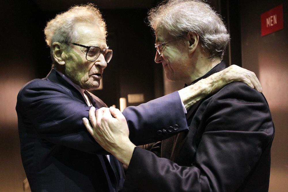 Stanislaw Skrowaczewski congratulates Osmo Vänskä after the Minnesota Orchestra performed with conductor Osmo Vänskä at the Minneapolis Convention Center February 1, 2013.