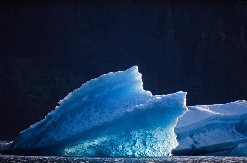 Alaska. Le Conte Glacier, S.E. Ak.  Iceberg silhouetted in morning light.