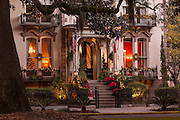 Christmas decorations on the Hamilton Turner Inn in Lafayette Square Savannah, GA.