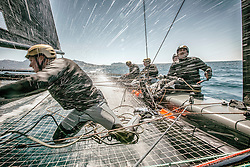 Onboard the GC32 Spindrift. This class is one of the most spectacular sailing classes at the moment, capable of achieving 36 knots. In this shot the boat is doing around 25 with the photographer onboard during a race. <br /> <br /> Marseille Test Event for the 2015 Bullitt GC32 Racing Tour.