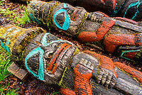 Totem poles, Fort Seward in Haines, Alaska USA.