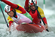 Minghai Hu and Junrong Shu of China compete in the canoe/kayak slalom event at the Shunyi Olympic Rowing-Canoeing Park during Day 5 of the Beijing 2008 Olympic Games on August 13, 2008 in Beijing, China. Photo by Lucas Schifres/Pictobank/Cameleon/ABACAPRESS.COM