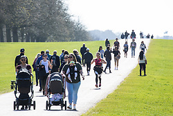 Windsor, UK. 29 March, 2021. Local residents and visitors enjoy a stroll on the Long Walk in Windsor Great Park at the beginning of what is expected to be a short spell of warm weather. The government has from today eased COVID-19 restrictions on outdoor gatherings in public spaces and private gardens by allowing two households of any size or six people from up to six households to meet outside in England.