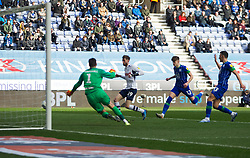 Tom Barkhuizen of Preston North End scores his sides first goal - Mandatory by-line: Jack Phillips/JMP - 08/02/2020 - FOOTBALL - DW Stadium - Wigan, England - Wigan Athletic v Preston North End - English Football League Championship