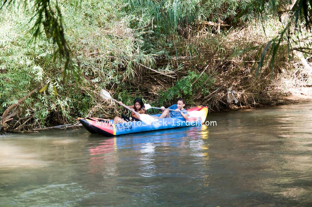 Israel, Upper Galilee, Hazbani River (AKA Snir River) a tributary of the Jordan river Rafting in the flowing water