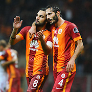 Galatasaray's Hamit Altintop (R) and Selcuk Inan (L) during their Turkish Super League soccer match Galatasaray between Sivasspor at the TT Arena at Seyrantepe in Istanbul Turkey on Friday, 26 September 2014. Photo by Kurtulus YILMAZ/TURKPIX