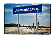 SHOT 2/22/19 11:07:03 AM - A small, simple roadside capilla framed by road signage for Las Coloradas in the Yucatan Peninsula in Mexico. The capillas are often dedicated to certain patron saints or the memory of someone that has died at or near the site. Common throughout the backroads and secondary highways of Mexico they often contain prayer candles, pictures, personal artifacts or handwritten notes. (Photo by Marc Piscotty / © 2019)