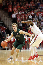 05 December 2015: Nick Norton keeps Paris Lee(1) at arms length as he brings the ball into play. Illinois State Redbirds host the University of Alabama - Birmingham Blazers at Redbird Arena in Normal Illinois (Photo by Alan Look)