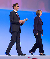Rt Hon Ed Miliband MP, Leader of the Labour Party and the Opposition with Harriet Harman MP during the Labour Party Annual Conference in Manchester, Great Britain, September 30, 2012 Photo by Elliott Franks / i-Images.