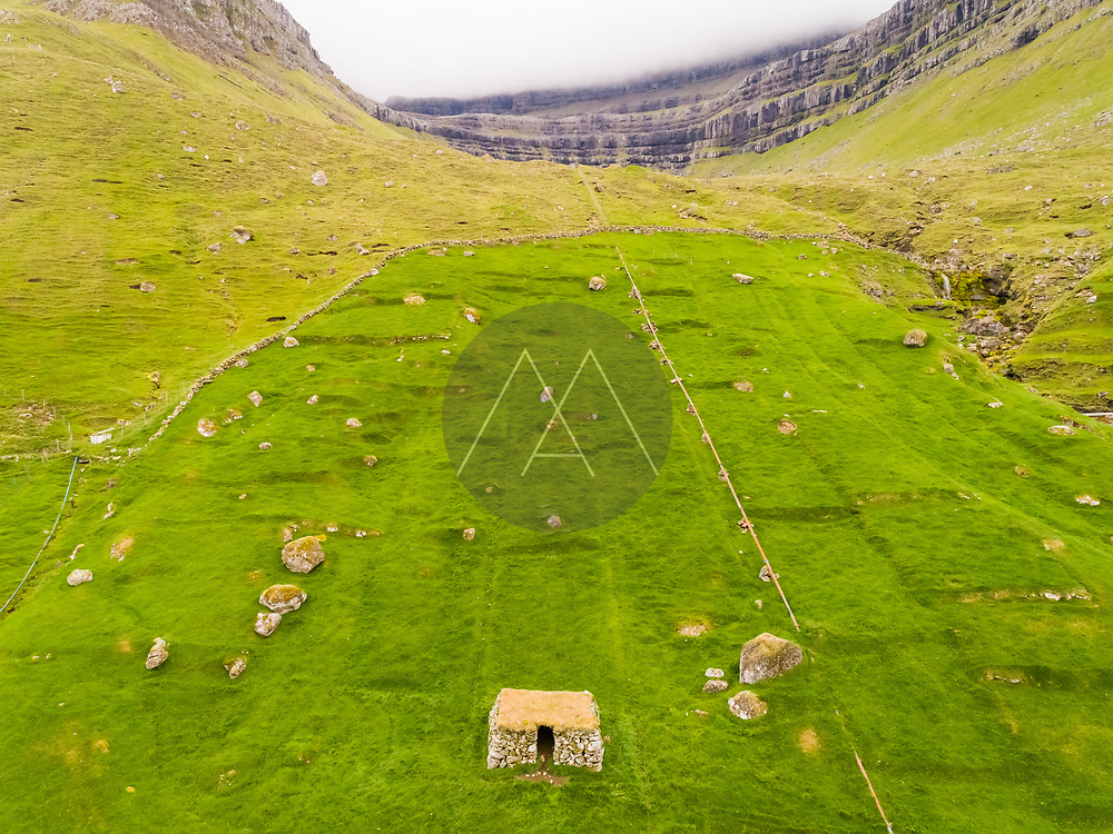 Aerial view of ancient ruins on archaeological site, Faroe island.