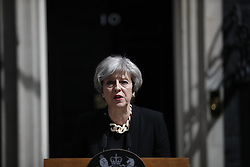 June 4, 2017 - London, London, UK - London, UK. Prime Minister THERESA MAY gives a statement following a terror attack that killed 6 people on London Bridge and Borough in central London. (Credit Image: © Tolga Akmen/London News Pictures via ZUMA Wire)