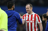 Charlie Adam of Stoke City shakes hands with Diego Costa of Chelsea before k/o. Premier league match, Chelsea v Stoke city at Stamford Bridge in London on Saturday 31st December 2016.<br /> pic by John Patrick Fletcher, Andrew Orchard sports photography.