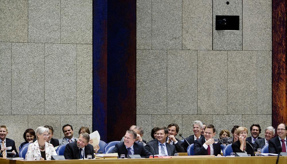 Nederland. Den Haag, 17 september 2008.<br /> De algemene beschouwingen in de tweede kamer, daags na prinsjesdag.<br /> Het kabinet lacht om Rutte en Halsema.<br /> Foto Martijn Beekman<br /> NIET VOOR PUBLIKATIE IN LANDELIJKE DAGBLADEN.