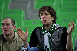 Fans of Olimpija during basketball match between KK Union Olimpija and Unics Kazan (RUS) of 10th Round in Group D of Regular season of Euroleague 2011/2012 on December 21, 2011, in Arena Stozice, Ljubljana, Slovenia. Unics Kazan defeated Union Olimpija 76-63. (Photo by Vid Ponikvar / Sportida)