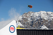 Great British freestyle skier Harris Booth at the GB Park & Pipe brand new winter training facility in Mottolino Snow Park on 7th December 2017 in Livingo, Italy. The Big Air Bag is the first of its kind and has been developed by the GB Park & Pipe's Hamish McKnight and Lesley McKenna. The air bag was built by BigAirBag company from Holland.