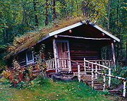 Historic Robert Service Cabin where poet Robert W. Service lived from 1909 to 1912, Parks Canada, Dawson City, Yukon Territory, Canada.