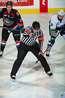 KELOWNA, CANADA - OCTOBER 10:  Referee Ward Pateman stands at centre ice to drop the puck between the Kelowna Rockets and the Seattle Thunderbirds on October 10, 2018 at Prospera Place in Kelowna, British Columbia, Canada.  (Photo by Marissa Baecker/Shoot the Breeze)  *** Local Caption ***