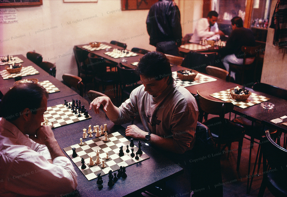 Chess match at the Chess Store in the Villiage of New York City.  Customers pay to play by the hour.