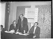 """30/05/1960<br /> 05/30/1960<br /> 30 May 1960<br /> W.D. & H.O. Wills and Gael Linn press conference on new collaboration at the Hibernian Hotel Dublin. Image shows (l-r): Donall Ó Móráin, Chairman Gael Linn; Mr A. Pullan, Sales Manager W.D. & H.O. Wills and Sean Ó Siochain, Trustee Gael Linn.  Film concerned most likely """"Peil""""."""