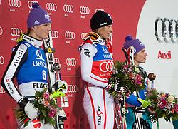 20.12.2011, Hermann Maier Piste, Flachau, AUT, FIS Weltcup Ski Alpin, Damen, Slalom Podium, im Bild Maria Hoefl-Riesch (GER, Rang 2), Marlies Schild (AUT, Rang 1) und  Tina Maze (SLO, Rang 3) // second place Maria Hoefl-Riesch of Germany, first place Marlies Schild of Austria, dirt place Tina Maze of Slovenia, on Podium Slalom at FIS Ski Alpine Worldcup at Hermann Maier Pist in Flachau, Austria on 2011/12/20. EXPA Pictures © 2011, PhotoCredit: EXPA/ Johann Groder