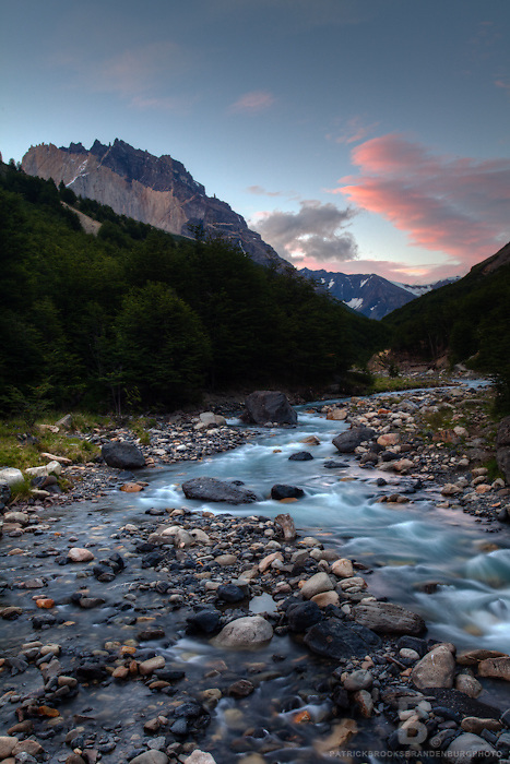 Long exposure at sunset of a river in Valley Ascencio in Torres del Paine National Park in Patagonia, Chile.