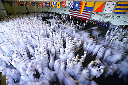May 15, 2017 - Norfolk, Virginia, United States - Sailors disperse at the conclusion of a change of command ceremony held aboard Nimitz-class aircraft carrier USS Abraham Lincoln (CVN 72) in Norfolk, Va. Abraham Lincoln change of command comes after the successful completion it's mid-life refueling and complex overhaul. (Credit Image: © Mark Logico/US Navy via ZUMA Wire/ZUMAPRESS.com)