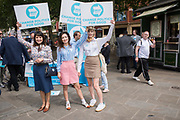 OLIVIA GRANT, ALICE GRANT, BEATRICE GRANT, Brexit party campaigning in Peterborough before the byelection caused by the jailing of the local MP for a lying about a speeding offense.  1 June 2019