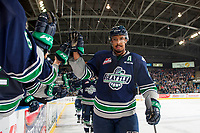 KELOWNA, CANADA - APRIL 25: Keegan Kolesar #28 of the Seattle Thunderbirds high fives the bench after scoring the first goal of the game during the second period against the Kelowna Rockets on April 25, 2017 at Prospera Place in Kelowna, British Columbia, Canada.  (Photo by Marissa Baecker/Shoot the Breeze)  *** Local Caption ***