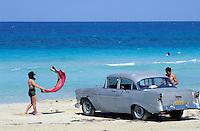 Cuba, La Havane, Les plages de l'Est, Voiture americaine rouge, Santa Maria del Mar // Cuba, Havana, Santa Maria del Mar beach, old american car